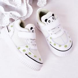 Apawwa Dziecięce Sportowe Buty Z Pandą Biało-Zielone Chico białe 3