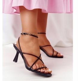 Sandały Na Szpilce Z Kwadratowym Noskiem S.Barski C420-11 Czarne 2