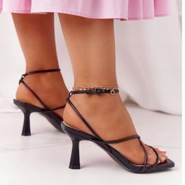 Sandały Na Szpilce Z Kwadratowym Noskiem S.Barski C420-11 Czarne 4