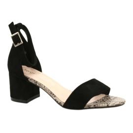 Sandały na niskim słupku Sergio Leone SK839 beżowy brązowe czarne 2