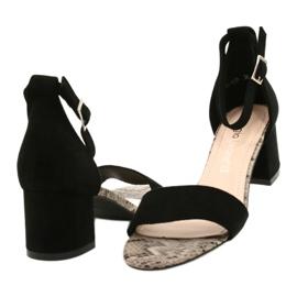 Sandały na niskim słupku Sergio Leone SK839 beżowy brązowe czarne 4