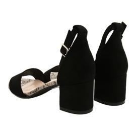 Sandały na niskim słupku Sergio Leone SK839 beżowy brązowe czarne 5