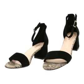 Sandały na niskim słupku Sergio Leone SK839 beżowy brązowe czarne 3