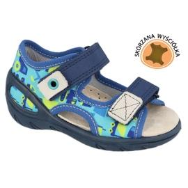 Befado obuwie dziecięce pu 065X156 granatowe niebieskie zielone 1