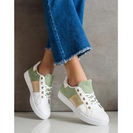 SHELOVET Modne Sznurowane Sneakersy białe wielokolorowe zielone 2