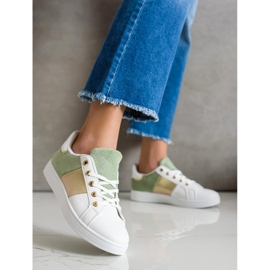 SHELOVET Modne Sznurowane Sneakersy białe wielokolorowe zielone 3