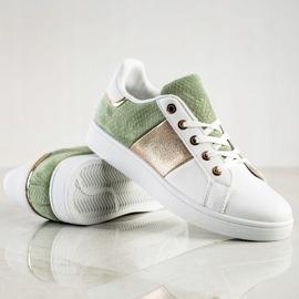 SHELOVET Modne Sznurowane Sneakersy białe wielokolorowe zielone 1
