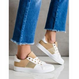 SHELOVET Modne Sznurowane Sneakersy białe brązowe wielokolorowe 3