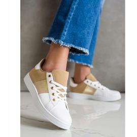SHELOVET Modne Sznurowane Sneakersy białe brązowe wielokolorowe 4