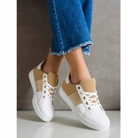SHELOVET Modne Sznurowane Sneakersy białe brązowe wielokolorowe 2