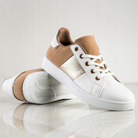 SHELOVET Modne Sznurowane Sneakersy białe brązowe wielokolorowe 1