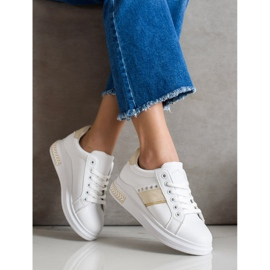 SHELOVET Casualowe Sneakersy białe złoty 2