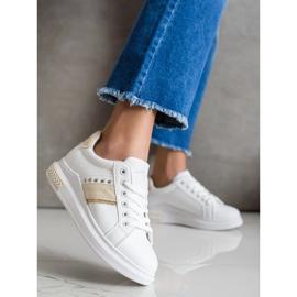 SHELOVET Casualowe Sneakersy białe złoty 3