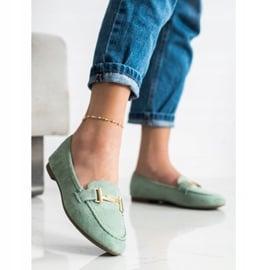 Anesia Paris Eleganckie Mokasyny zielone 2