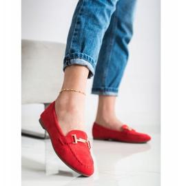 Anesia Paris Eleganckie Mokasyny czerwone 2