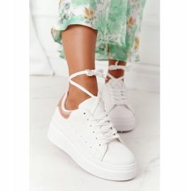 Sportowe Buty Sneakersy Na Platformie Biało-Złote Shine Bright białe złoty 5