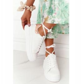 Sportowe Buty Sneakersy Na Platformie Biało-Złote Shine Bright białe złoty 1