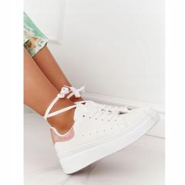 Sportowe Buty Sneakersy Na Platformie Biało-Złote Shine Bright białe złoty 3