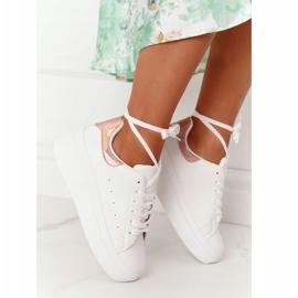 Sportowe Buty Sneakersy Na Platformie Biało-Złote Shine Bright białe złoty 4