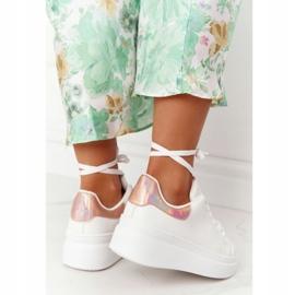 Sportowe Buty Sneakersy Na Platformie Biało-Złote Shine Bright białe złoty 6