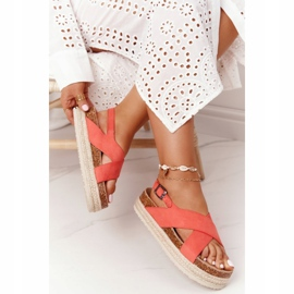 Sandały Na Korkowej Platformie Big Star FF274A129 Koralowe beżowy czerwone 3