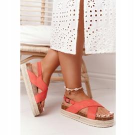Sandały Na Korkowej Platformie Big Star FF274A129 Koralowe beżowy czerwone 1