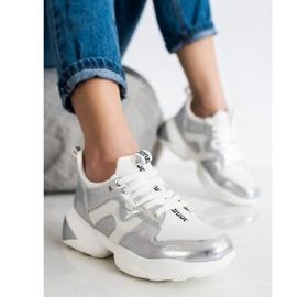 Weide Biało-srebrne Sneakersy białe srebrny 2