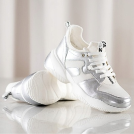 Weide Biało-srebrne Sneakersy białe srebrny 1