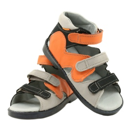 Sandałki wysokie profilaktyczne Mazurek 291 szary orange pomarańczowe szare 3