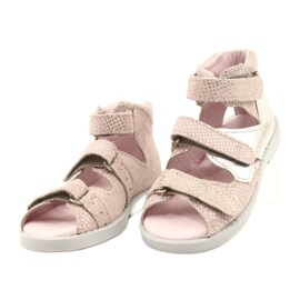 Sandałki wysokie profilaktyczne Mazurek 291 pink-silver różowe srebrny 1