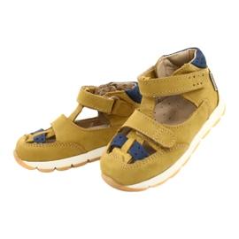 Sandałki chłopięce rzepy Mazurek 1187 c.żółty granatowe żółte 1
