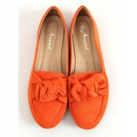 Mokasyny z kokardą pomarańczowe 88-382 Orange 1