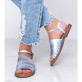 Niebieskie sandały z połyskiem Brown Sun różowe 1