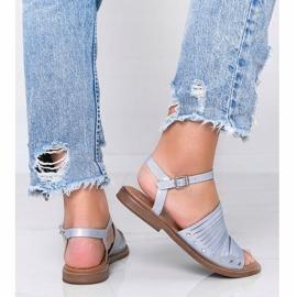Niebieskie sandały z połyskiem Brown Sun różowe 2