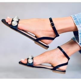 Sandałki damskie z perłami czarne H19 Black 3