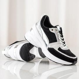Filippo Skórzane Sneakersy Na Koturnie czarne 1