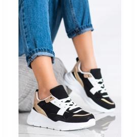 SHELOVET Stylowe Sneakersy Z Siateczką czarne 2