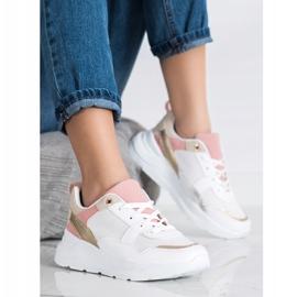 SHELOVET Stylowe Sneakersy Z Siateczką białe wielokolorowe 3