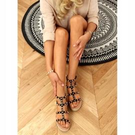 Sandałki espadryle z ćwiekami czarne ME01 Black 3