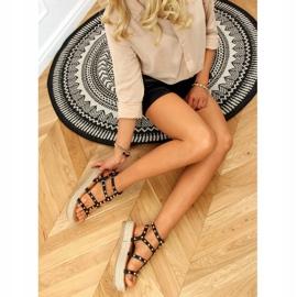 Sandałki espadryle z ćwiekami czarne ME01 Black 2