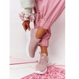 PS1 Damskie Sportowe Buty Sneakersy Różowe Ruler białe 2