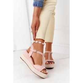 PG1 Sandały Na Koturnie Z Plecionką Różowe Graciosa brązowe 2
