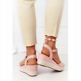 PG1 Sandały Na Koturnie Z Plecionką Różowe Graciosa brązowe 3