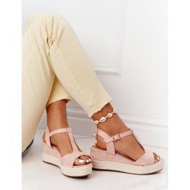PG1 Sandały Na Koturnie Z Plecionką Różowe Graciosa brązowe 5