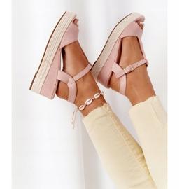 PG1 Sandały Na Koturnie Z Plecionką Różowe Graciosa brązowe 7