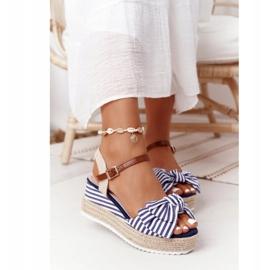 PG1 Sandały Na Koturnie W Stylu Marynarskim Niebieskie La Isla Bonita białe wielokolorowe 2