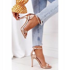 PG1 Eleganckie Sandały Na Szpilce Różowe Złoto Glamour złoty 3