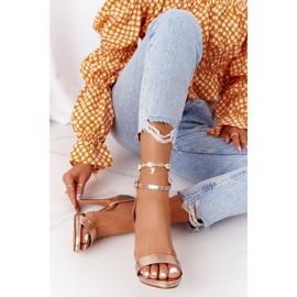 PG1 Eleganckie Sandały Na Szpilce Różowe Złoto Glamour złoty 1
