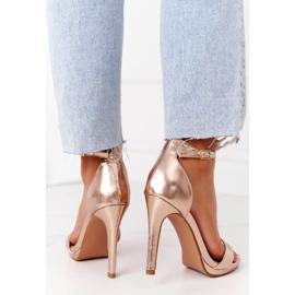 PG1 Eleganckie Sandały Na Szpilce Różowe Złoto Glamour złoty 4