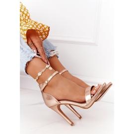 PG1 Eleganckie Sandały Na Szpilce Różowe Złoto Glamour złoty 5